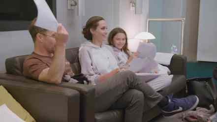 Sam Rockwell, Angelina Jolie, and Brooklynn Prince behind the scenes of Disney's THE ONE AND ONLY IVAN.