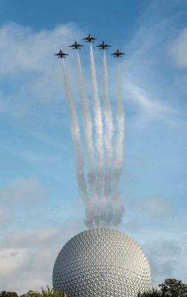 U.S. Air Force Thunderbirds fly over Spaceship Earth at EPCOT at Walt Disney World Resort in Lake Buena Vista, Fla., Oct. 29, 2020, as a kickoff for National Veterans and Military Families Month in November. (Kent Phillips/Jeremy Schoolfield, photographers)