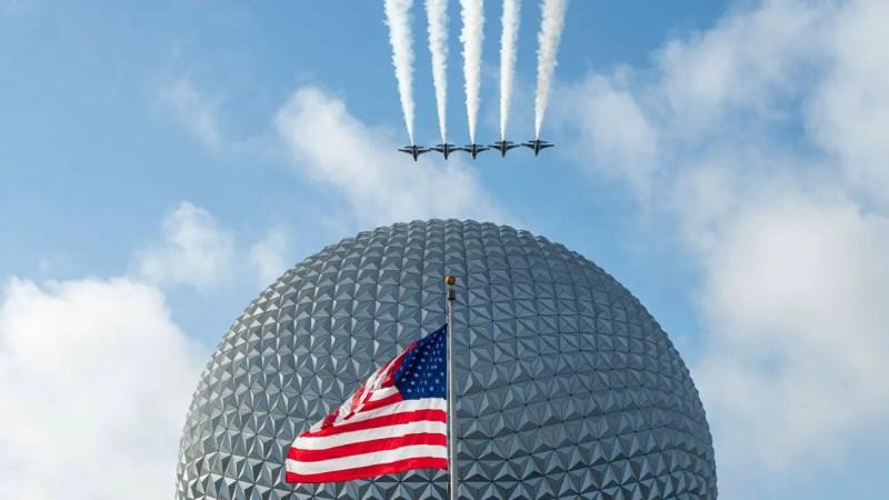 U.S. Air Force Thunderbirds Fly Over EPCOT at Walt Disney World Resort