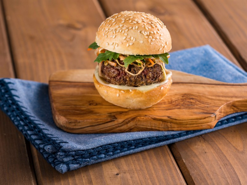 Impossible™ Burger Slider with Wasabi Cream and Spicy Asian Slaw.