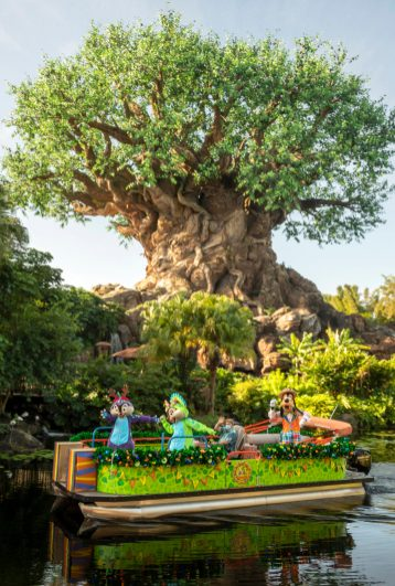 Goofy and pals sail down Discovery River as part of the holiday celebrations happening at Disney's Animal Kingdom at Walt Disney World Resort in Lake Buena Vista, Fla. (Kent Phillips, photographer)