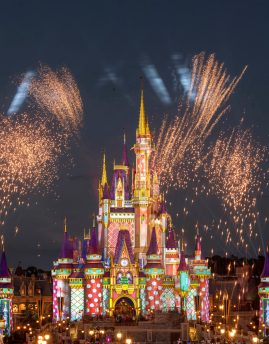 Pyrotechnic pixie-dust moments add occasional bursts of merriment each night at Magic Kingdom Park as projection effects transform Cinderella Castle with a flourish of holiday cheer. These magical holiday touches occur throughout the night as part of the seasonal celebrations happening across Walt Disney World Resort in Lake Buena Vista, Fla., through Dec. 30, 2020. (Kent Phillips, photographer)
