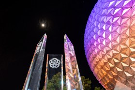Three majestic new pylons were installed in the main entrance plaza of EPCOT at Walt Disney World Resort in Lake Buena Vista, Fla., Aug. 11, 2020, as part of the park's ongoing, multiyear transformation. (David Roark, photographer)