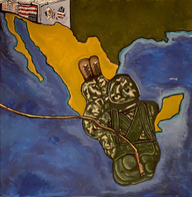 Mario Rangel (Mexico)My deployment to my country of origin, MexicoAcrylic paint on canvasCourtesy of the Deported Veterans Mural Project