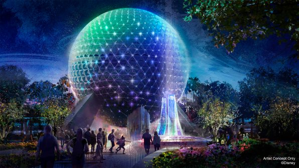 "In this artist rendering, Spaceship Earth becomes a Beacon of Magic in EPCOT at Walt Disney World Resort in Lake Buena Vista, Fla. As part of ""The World's Most Magical Celebration"" honoring Walt Disney World Resort's 50th anniversary beginning Oct. 1, 2021, Spaceship Earth and other icons at each Walt Disney World theme park will come to life at night with their own EARidescent glow. (Disney)"