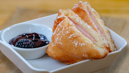 A Touch of Disney, a new, limited-time ticketed experience brings back some of the sights, sounds and flavors of the Disneyland Resort to Disney California Adventure Park beginning March 18, 2021. A Touch of Disney offers some of the world-famous food and drinks from around the Disneyland Resort, like the mouth-watering Monte Cristo sandwich, churros, DOLE Whips¨ and more, plus a chance to see Disney characters, shop for the latest Disney merchandise and pop in at unique photo locations. The experience is underscored by a specially curated soundtrack of reimagined Disney songs broadcast throughout the park. (David Nguyen/Disneyland Resort)