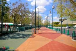 The walkway from Harbor Blvd to Disneyland's Esplanade
