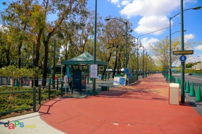 The entrance to the screenings for guests to enter Downtown Disney District from Harbor Blvd