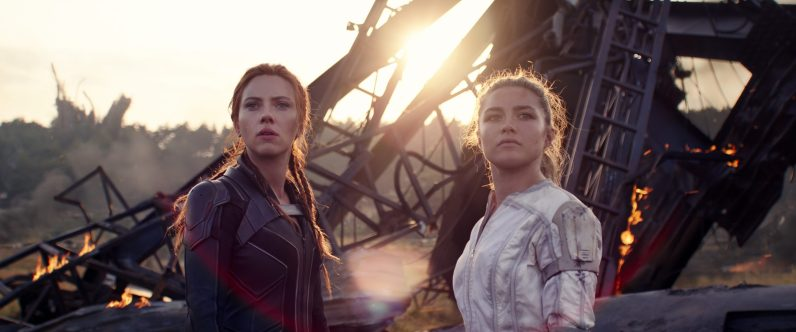 (L-R): Black Widow/Natasha Romanoff (Scarlett Johansson) and Yelena (Florence Pugh) in Marvel Studios' BLACK WIDOW, in theaters and on Disney+ with Premier Access. Photo courtesy of Marvel Studios. ©Marvel Studios 2021. All Rights Reserved.