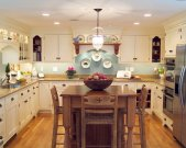 Amusing perfect kitchen colors with wooden dining table wooden chairs refrigeratol hanging lighting wooden floor shelfing