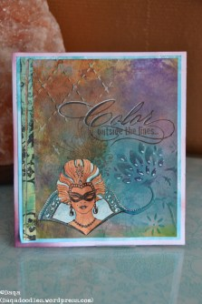 Ooh I loved this one, been saving it for a special blogoccasion. The women is made of multiple layers. Stamps from Chocolate Baroque (I think, it was in a grab bag). Text is from erm....another company. 2 different embossing folders used for the background.