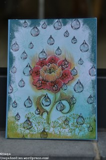 Can you tell that I like this card very much as well? Design by Ryn raindrops and Chocolate Baroque flower. The flower emits warmth, scent, or the steam kind of thing you sometimes see after a rainshower in the summer. I heatembossed the edges.