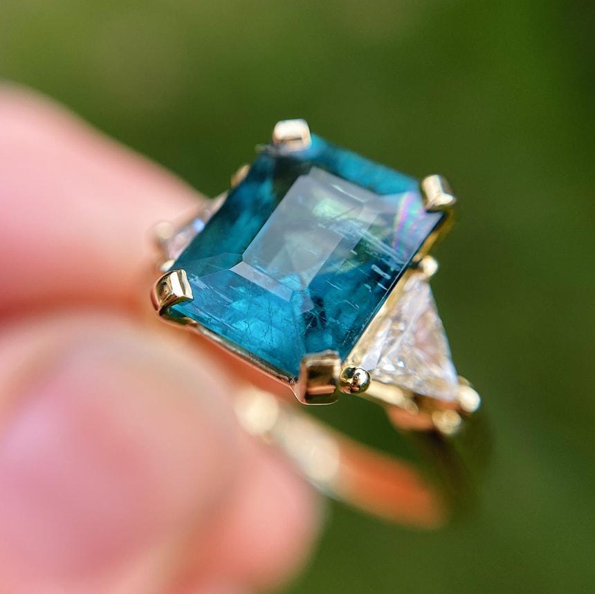Nhẫn đá Tourmaline xanh nước biển (đá Indicolite)