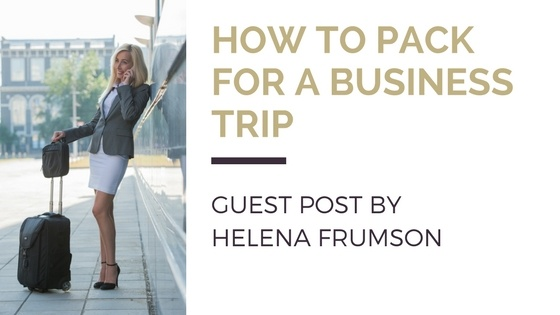 Blog title next to an image of a business woman standing outdoors with a suitcase and talking on her phone