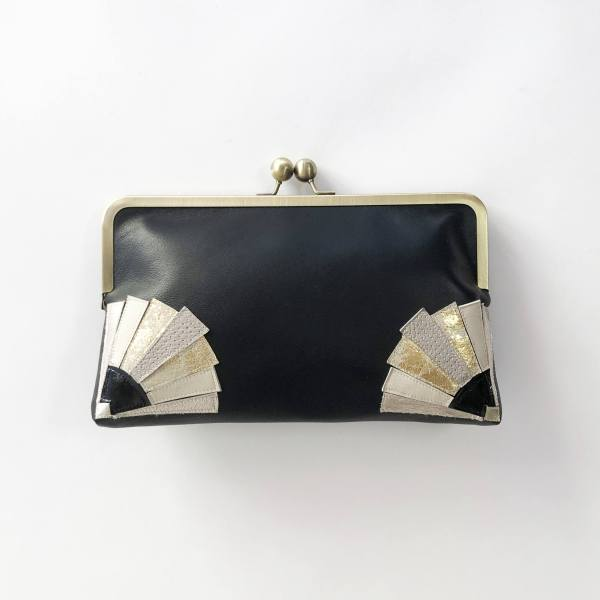 Black clutch bag with Art Deco style fan design