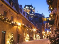 Chateau Frontenac from a street below at night
