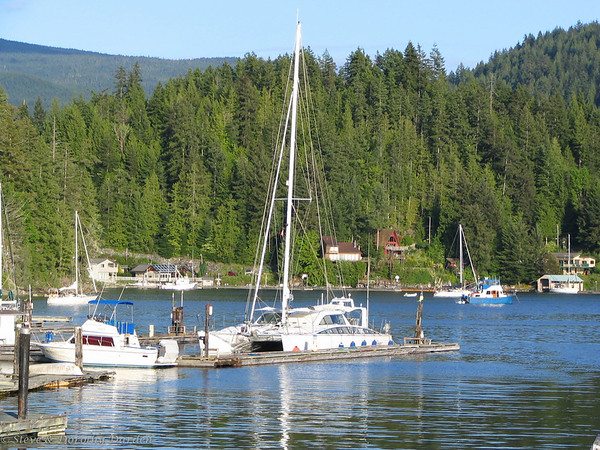 ADAGIO berthed at Sportsmans Club Marina in Garden Bay, BC