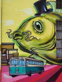 Valparaiso hostel wall: electric trolleys still circle the city