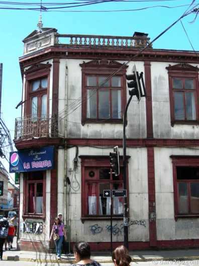 One of the many deteriorating old iron clad buildings in the center of Valdivia.
