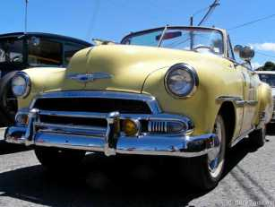 Chevrolet Convertible in yellow with red interior