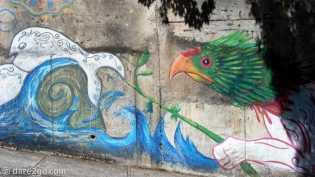 Niebla: streetart on a retaining wall