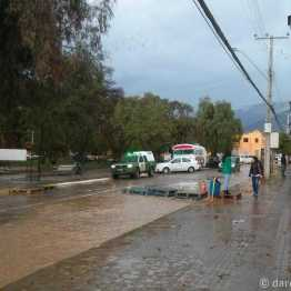 Vicuña, flooded streets near main square