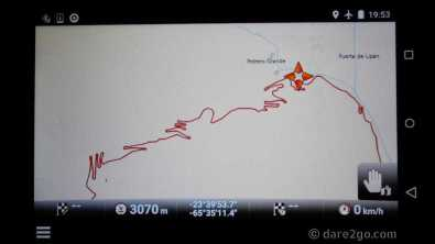 descent from Abra de Potrerillos on our GPS, and finally in the last minute a place to pull off the road for the night.