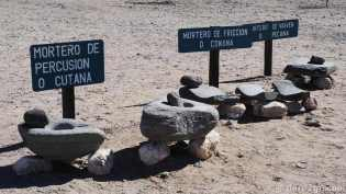 Different stone mortars as found at the ruins of Quilmes.