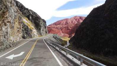 Paso San Francisco, Argentina: driving through the narrow Quebrada Las Angosturas