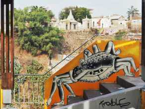 Valparaiso StreetArt: at the top of Cerro Constitucion, where the funicular ends. A crab walking down a stair.