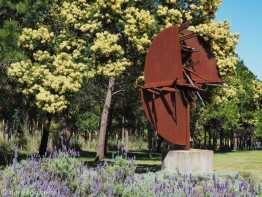 Sin Titulo by Enrique Broglia, 2007. On display, among lavender and wattles, in the sculpture park.