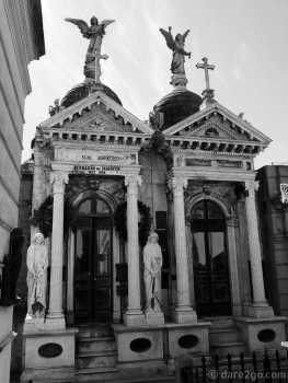 La Recoleta cemetery in Buenos Aires: not often that you find identical mausoleums side by side.