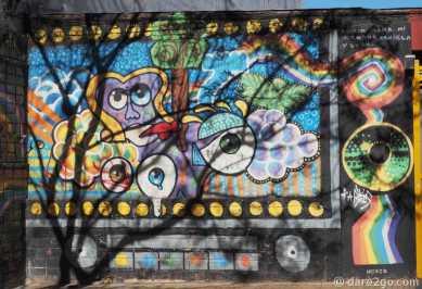 StreetArt Argentina: a colourful mural in San Telmo (excuse the shadows thrown by a tree)