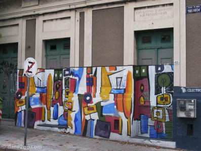 Calle Yaguaron, Montevideo: a colourful wall where all doors were painted over too.