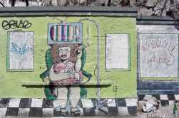 Street Art in the centre of Montevideo: this lovely 'Peluqueria' (hairdresser inspired) piece along Ciudadela. It might not be there much longer as there are several new buildings going up...