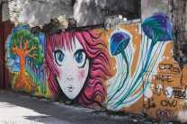 Street Art in the centre of Montevideo: in the middle a Manga inspired face. (Near Calle Durazno)