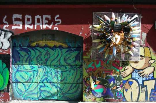 Street Art in the centre of Montevideo: layer upon layer of graffiti and one interesting three-dimensional piece, seen on a corner of Ciudadela and Calle Soriano (not sure!).