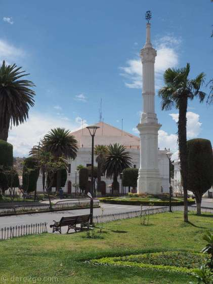 Most parks in Sucre are well cared for, like here the Plaza Libertad.