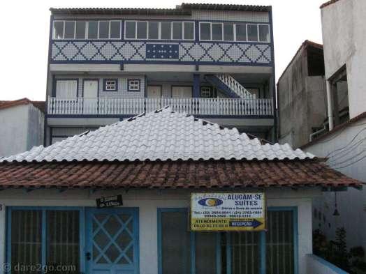 Tiled facade of a block of cheap holiday flats in Saquarema.
