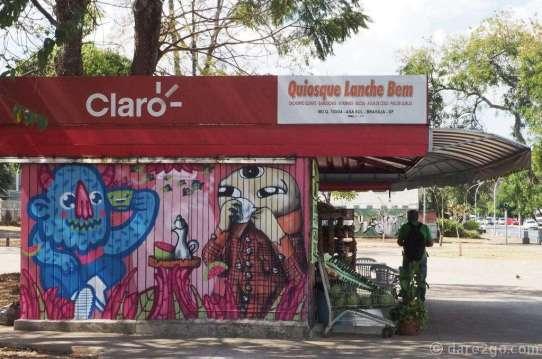 A small kiosk in Brasilia. Notice the Brazilian spelling!