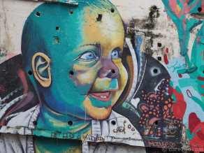 On a retaining wall in Urca, a suburb of Rio de Janeiro.