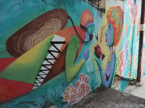 A beautiful piece in a small passage leading to a pedestrian stair in Santa Teresa.