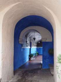 So many photogenic vistas inside the Santa Catalina convent - here in white and blue.