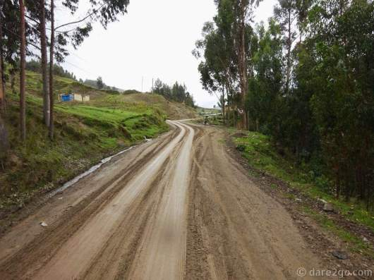 When we left Chavinillo the road was all muddy and slippery. Lucky for us it was all uphill.