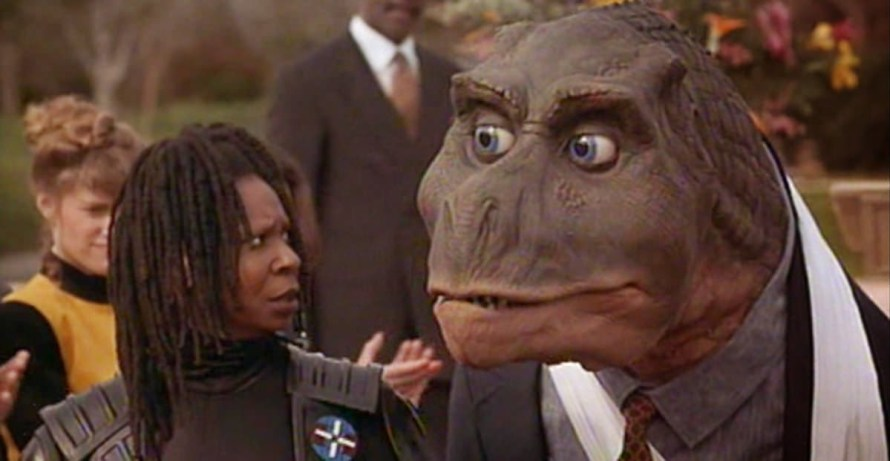 Whoopi Goldberg and her dinosaur partner in Theodore Rex