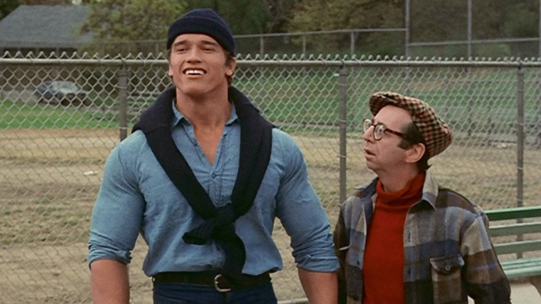 Arnold Schwarzenegger and Arnold Stang in Hercules in New York