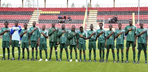 The chosen Darfur United 15, singing their anthem with pride and heart during today's pre-game introduction.