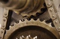 The timing marks on the gears.