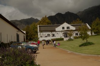 The Franschhoek Motor Museum under the mountains.