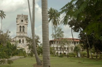 The Catholic mission at Bagamoyo. The 2nd Church on the left, the mission house on the right.